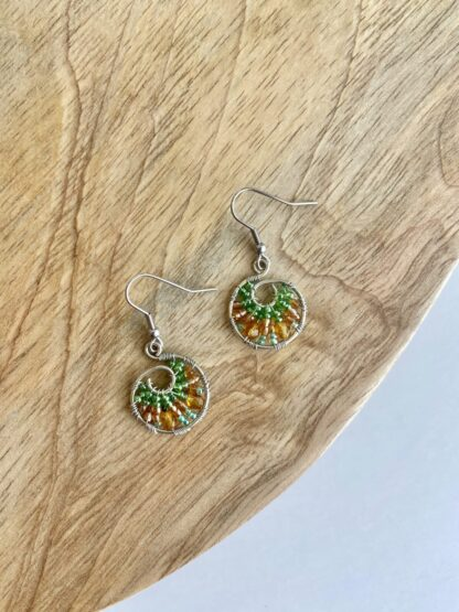 Beaded Hoop Earrings in Lime & Orange