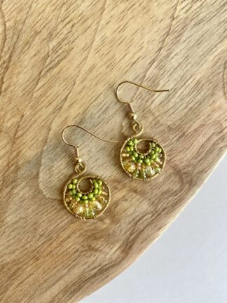 Beaded Hoop Earrings in Lime & Gold