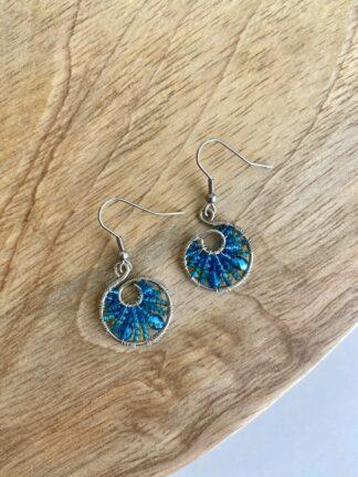 Beaded Hoop Earrings in Dark Blue & Light Blue