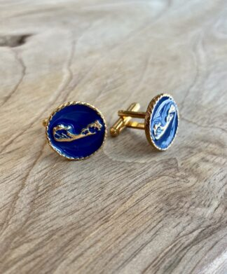 Bermuda Map Cufflinks in Navy