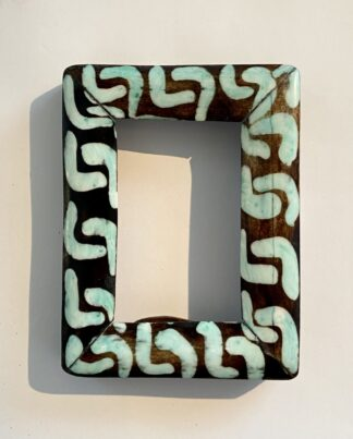 Hand Painted Kenyan 2 x 2.5 Turquoise Frame
