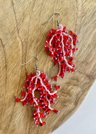 Beaded Coral Earrings in Light Pink & Hot Pink