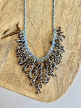 Beaded Coral Necklace in Sky Blue & Brown
