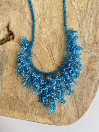 Beaded Coral Necklace in Blue & Light Blue