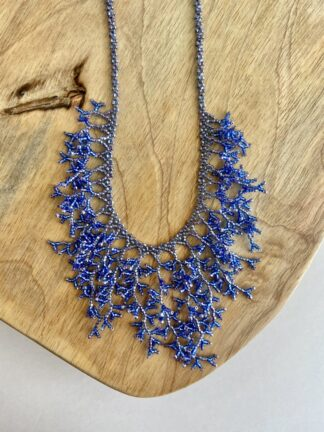 Beaded Coral Necklace in Blue & Light Purple
