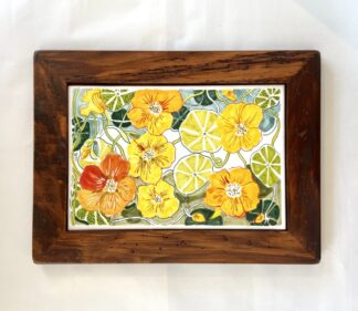Nasturtium Wood Framed Tile