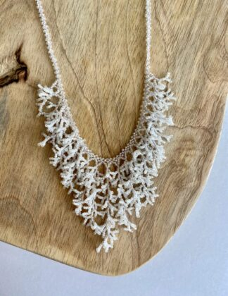 Beaded Coral Necklace in White