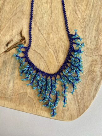 Beaded Coral Necklace in Dark Blue & Turquoise