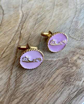 Bermuda Map Cufflinks in Light Pink