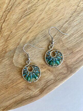 Beaded Hoop Earrings in Turquoise & Green