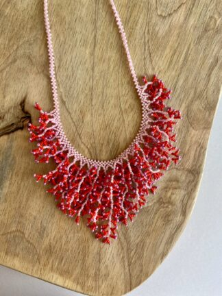Beaded Coral Necklace in Light Pink & Hot Pink