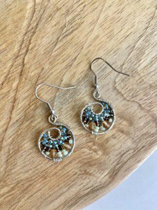 Beaded Hoop Earrings in Light Blue & Mint