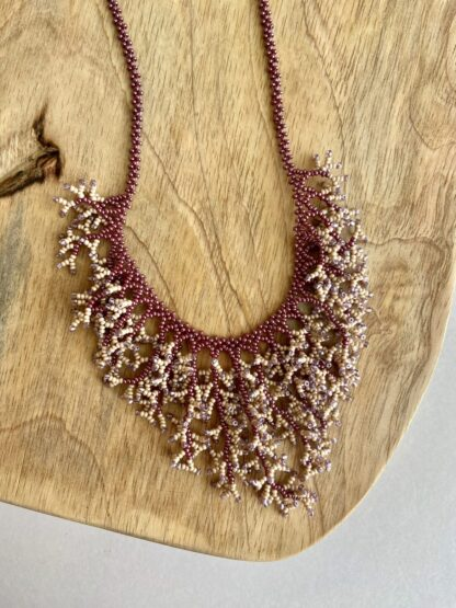 Beaded Coral Necklace in Light Purple & Light Pink