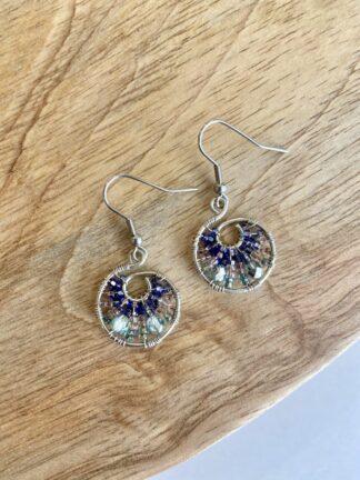 Beaded Hoop Earrings in Dark Purple & Aqua
