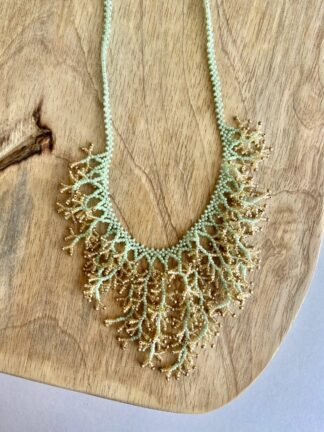 Beaded Coral Necklace in Mint Green & Gold