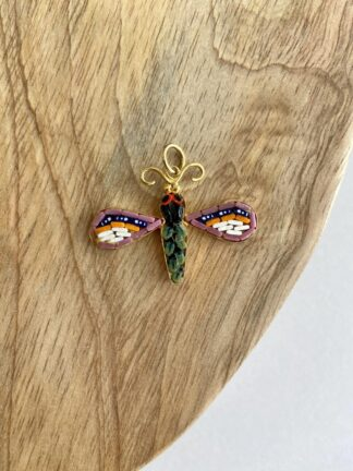 Mosaic Dragonfly Pendant in Pink & Purple