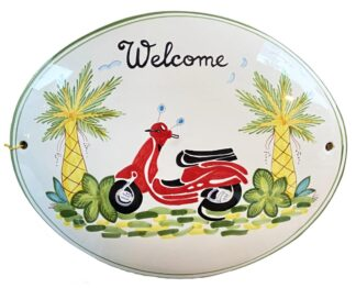 Red Moped Welcome Sign