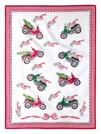 Christmas Moped Tea Towel