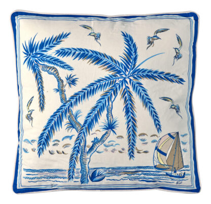 Sunset Dinghy in Blue Pillow