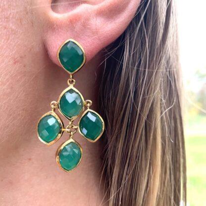 Katya Earrings in Green Calcedony