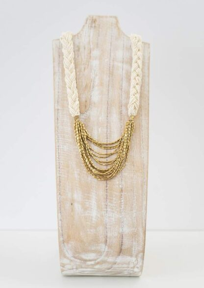 Braided Hema Cream Necklace