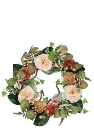 Peony Ranunculus & Berry Wreath