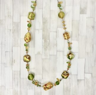 Venetian Glass Necklace - Green & Gold