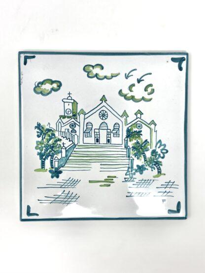 Green & White St. Peter's Medium Tile