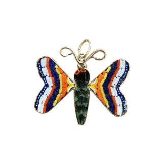 Mosaic Butterfly Pendant - Navy/Orange/Yellow/White