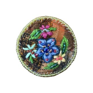 Embroidered Pendant - Blue Flower