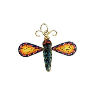 Mosaic Dragonfly Pendant - Yellow/Orange