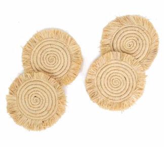 Fringed Coasters - Natural