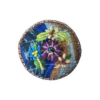 Embroidered Pendant - Purple Flower