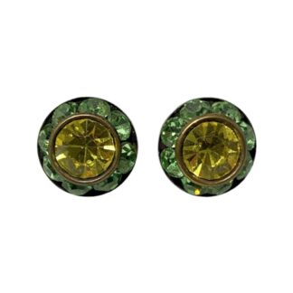 Crystal Earring Studs - Green/Yellow