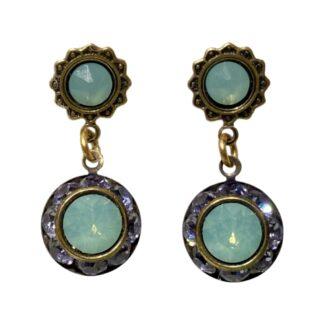 Crystal Earrings - Purple/Turquoise