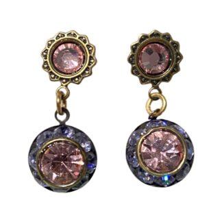 Crystal Earrings - Purple/Pink
