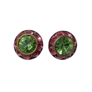 Crystal Earring Studs - Pink/Green