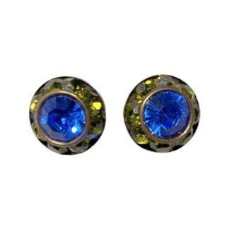 Crystal Earring Studs - Green/Royal Blue