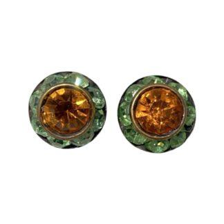 Crystal Earring Studs - Green/Orange