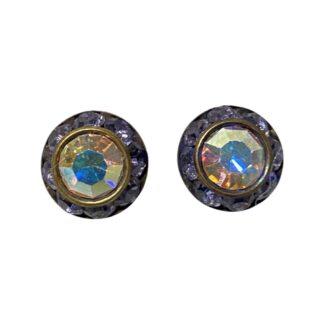 Crystal Earring Studs - Purple/Rainbow