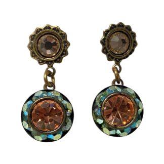Crystal Earrings - Turquoise/Orange