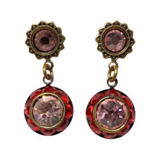 Crystal Earrings - Red/Pink