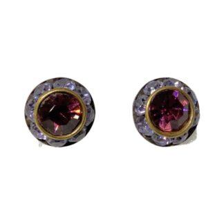 Crystal Earring Studs - Purple/Dark Purple