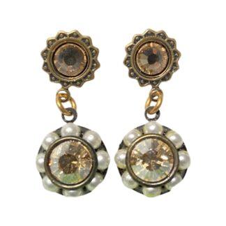 Crystal Earrings - Pearls/Peach
