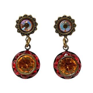 Crystal Earrings - Red/Orange