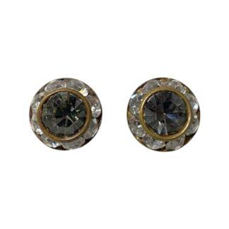 Crystal Earring Studs - Clear/Dark Gray