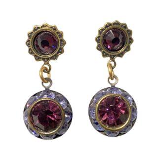 Crystal Earrings - Purple/Dark Purple