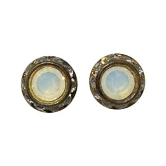 Crystal Earring Studs - Clear/White
