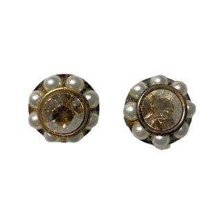 Crystal Earring Studs - Pearls/Peach