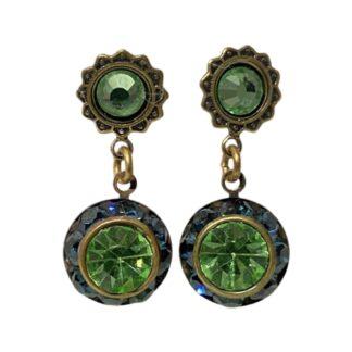 Crystal Earrings - Dark Blue/Green